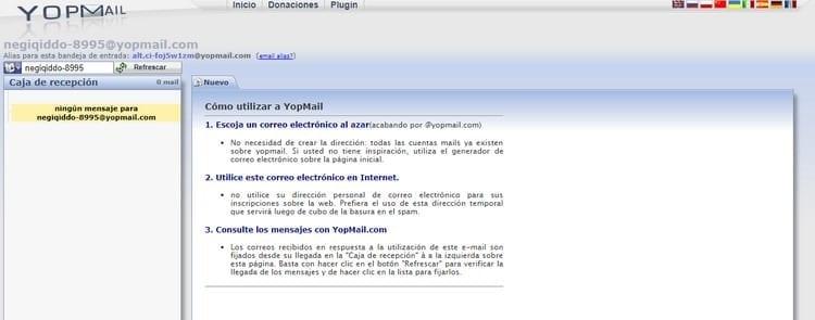 consultar mensajes correo aleatorio YOPmail