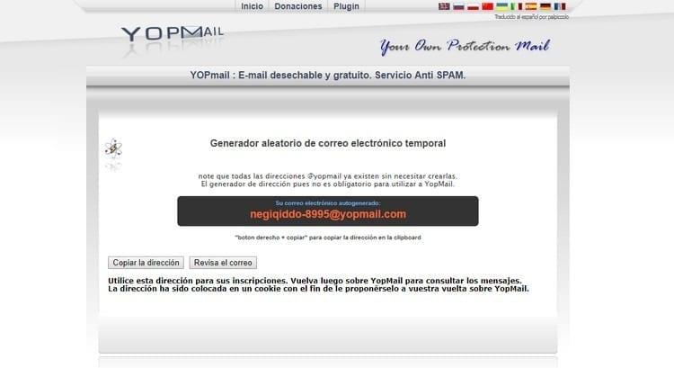 correo aleatorio YOPmail