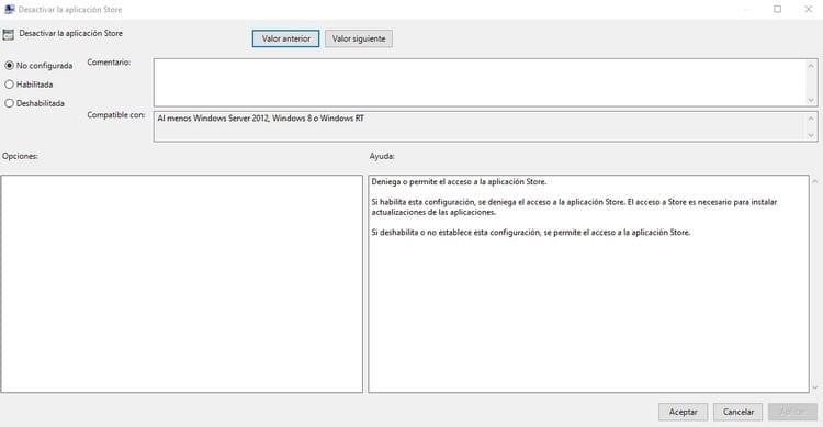 desactivar la aplicación store de Windows 10