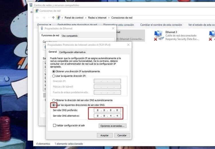 elegir direcciones servidor DNS Windows