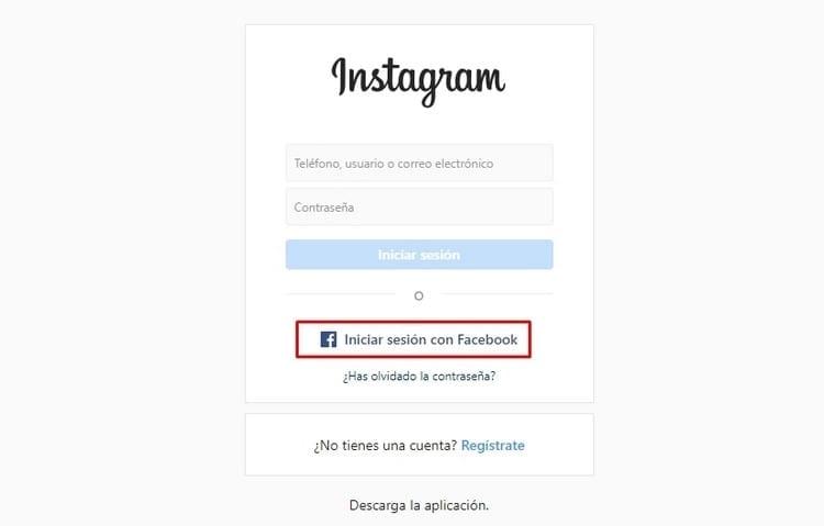 Entrar en Instagram con Facebook