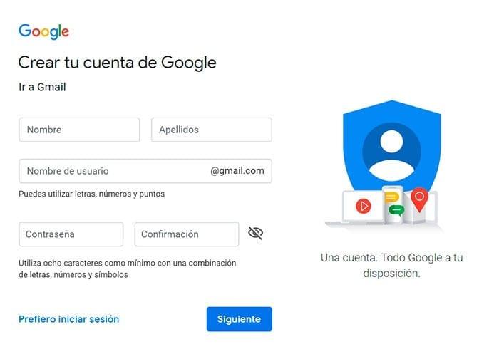 Formulario para registrarse en Gmail.com