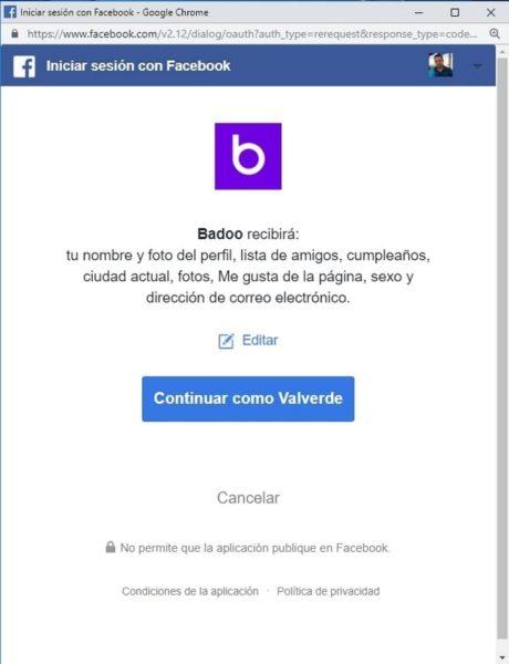 Iniciar sesión en Badoo con facebook b