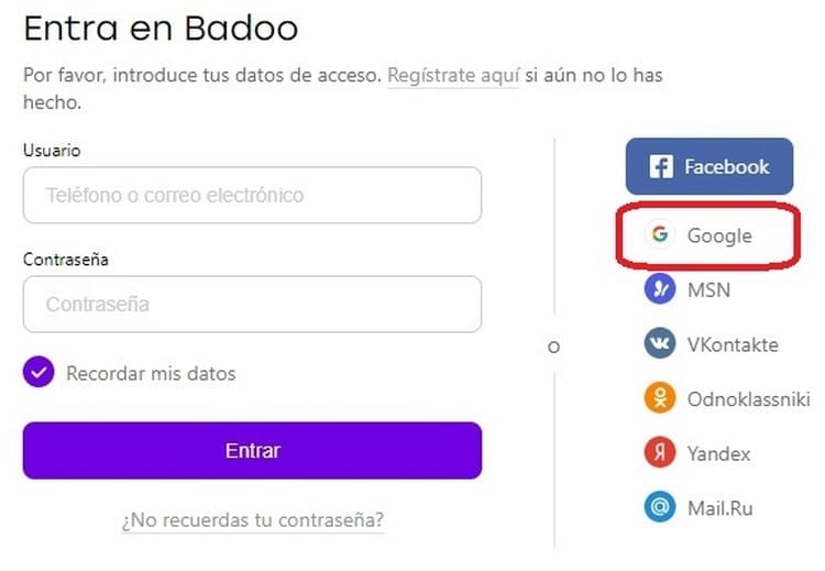 Iniciar sesión en Badoo con Google