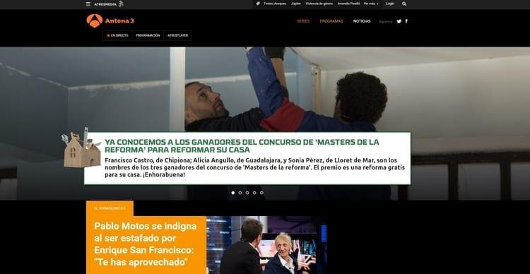 Página oficial de Antena 3 por Internet