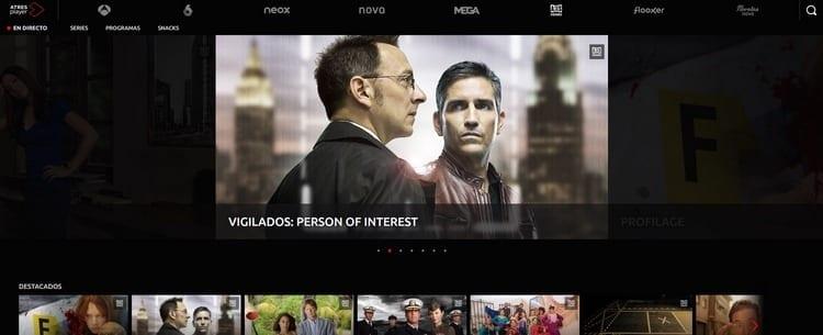 Página oficial de Antena 3 Series por Internet