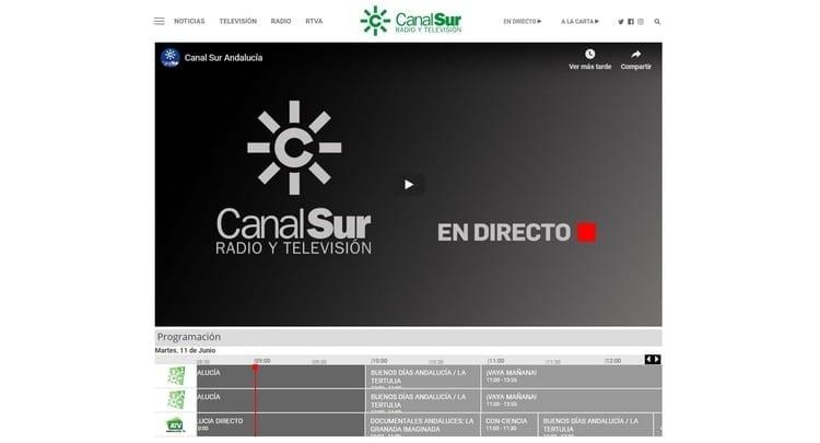 Página oficial de Canal Sur por Internet