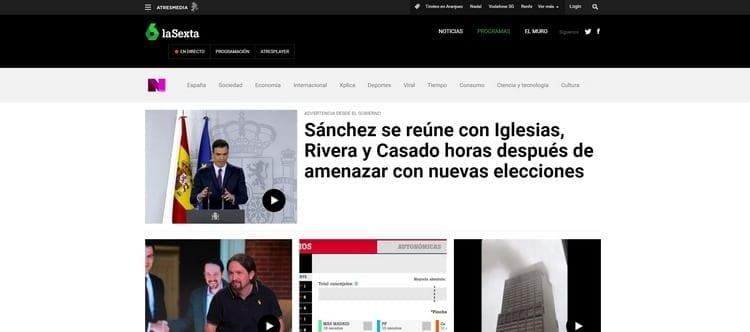 Página oficial de La Sexta online