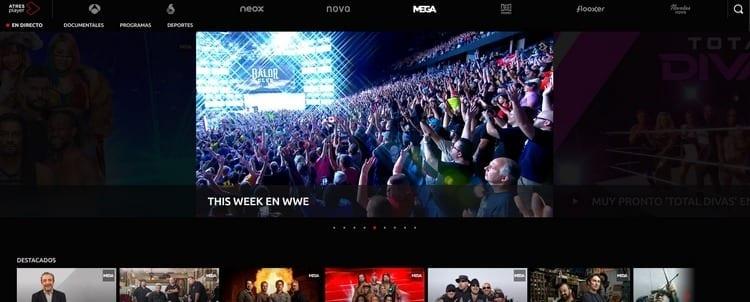 Página oficial de Mega por Internet