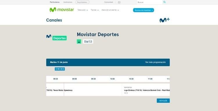 Página oficial de Movistar Deportes por Internet