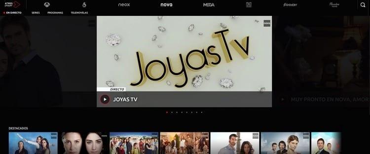 Página oficial de Nova por Internet