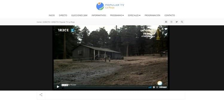 Página oficial de Popular TV La Rioja por Internet