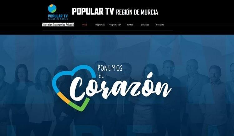 Página oficial de Popular TV Murcia por Internet