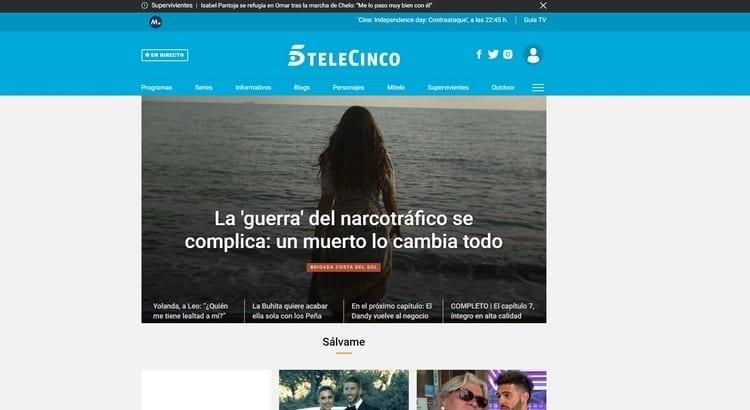 Página oficial de Telecinco por Internet