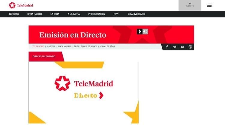 Página oficial de Telemadrid por Internet