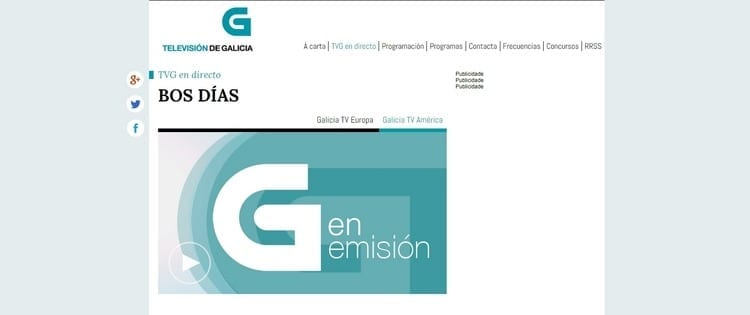Página oficial de Televisión de Galicia América por Internet