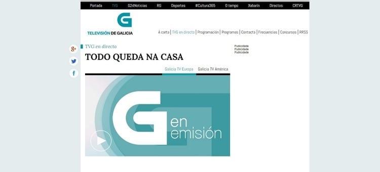 Página oficial de Televisión de Galicia Europa por Internet