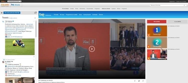 Página oficial de TVE 1 Cataluña por Internet