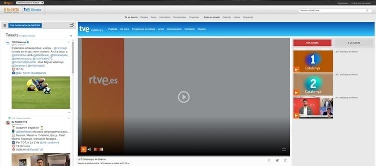 Página oficial de TVE 2 Cataluña por Internet