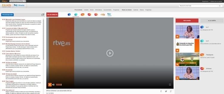 Página oficial de TVE 2 por Internet