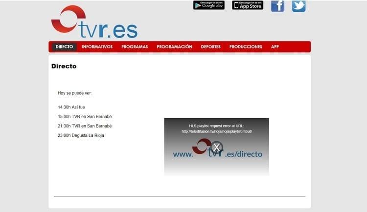 Página oficial de TVR Rioja Televisión por Internet