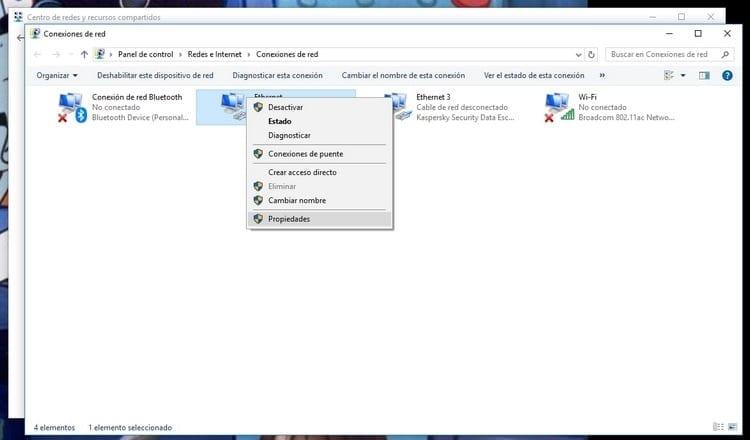 propiedades del adaptador Windows