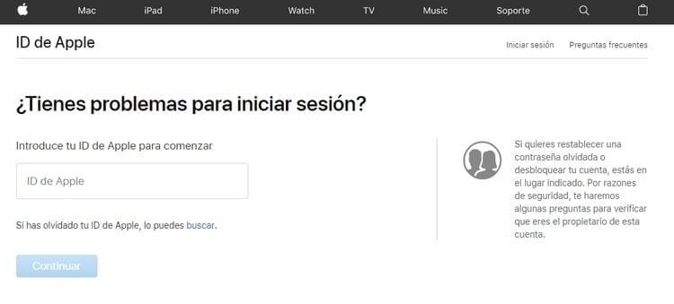 recuperar Apple id contraseña iniciar sesión iCloud