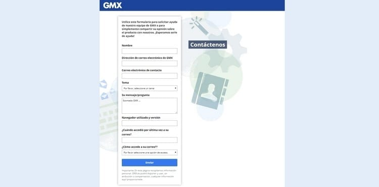 formulario contacto correo GM X