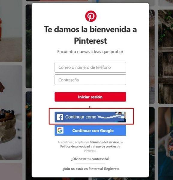 iniciar sesión Pinterest con Facebook