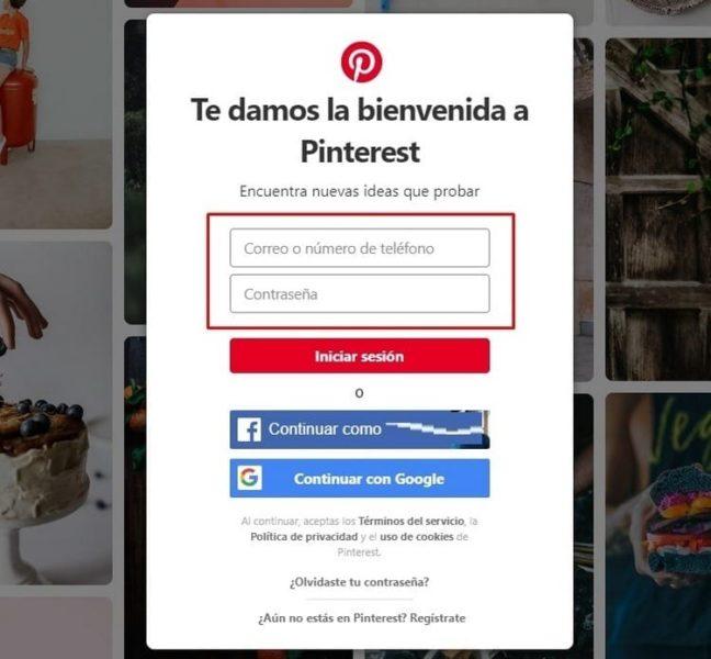 iniciar sesión Pinterest datos acceso