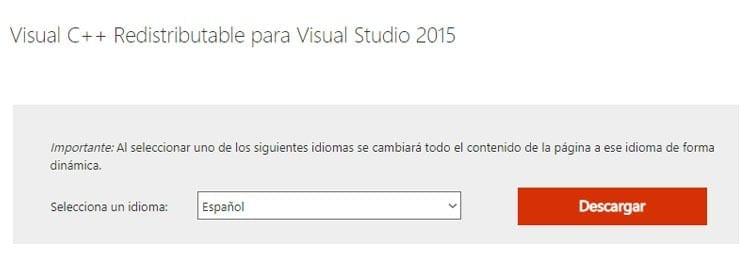 Instalar Visual C++ Redistributable para Visual Studio 2015