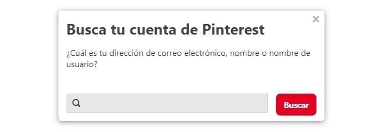 introducir datos recuperar contraseña Pinterest