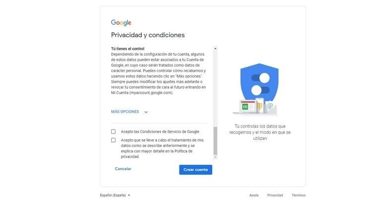 privacidad y condiciones Google