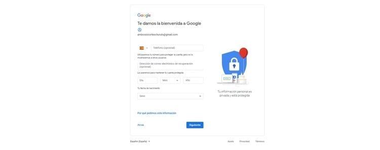 seguridad crear cuenta de Google