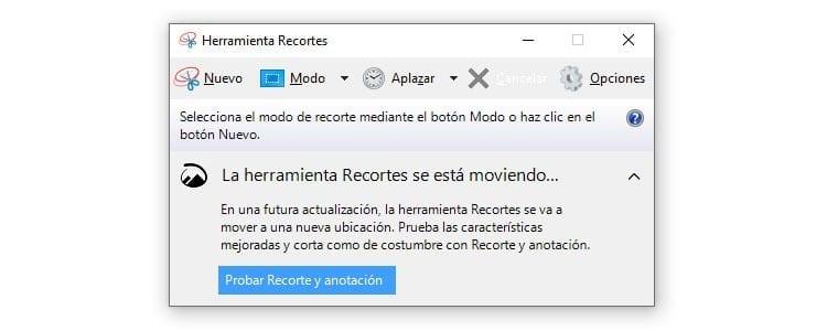 Herramienta Recortes Windows 10