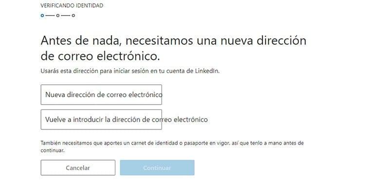 Verificar identidad LinkedIn