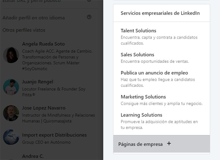 Paginas de empresa LinkedIn