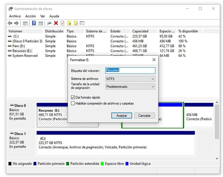 Formatear disco duro desde Windows