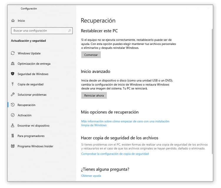 Formatear Windows 10 sin CD