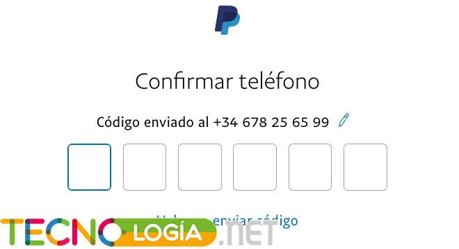 Confirmar teléfono para crear tu cuenta en Paypal